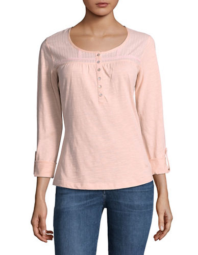 Manguun Tuck Yoke Cotton Blouse-PINK-Small