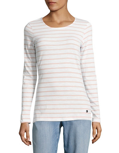 Manguun Breton Stripe Long Sleeve Cotton Top-PINK STRIPE-Medium
