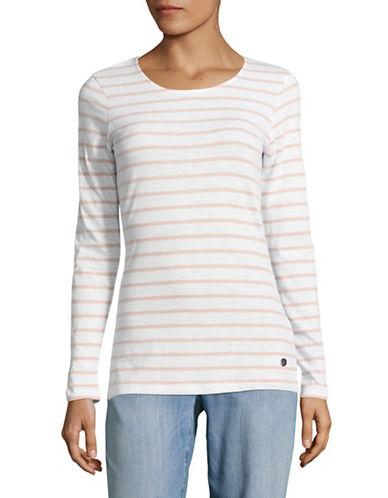 Manguun Breton Stripe Long Sleeve Cotton Top-PINK STRIPE-X-Large