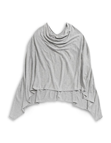Manguun Cowl Neck Poncho-GREY-Large