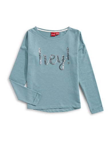 Manguun Sequined Hey Sweatshirt-BLUE-Small