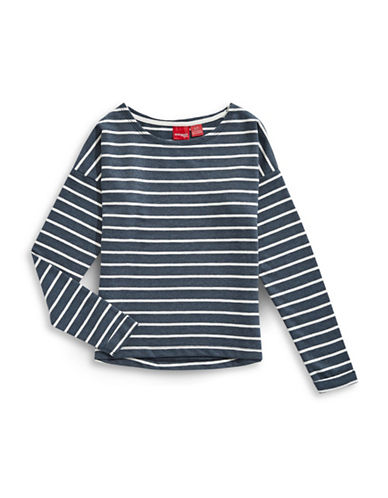 Manguun Striped Sweatshirt-INDIGO-Small