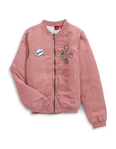 Manguun Bomber Jacket with Patches-ROSE-Small