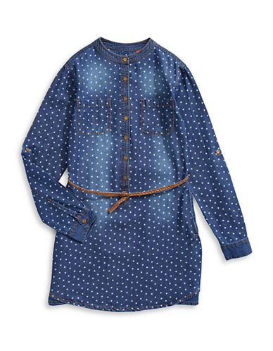 Manguun Star Denim Shirtdress-BLUE-Large