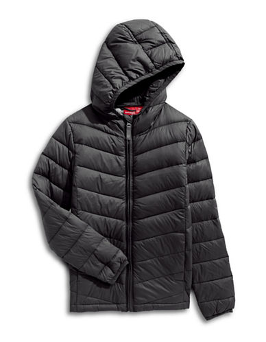 Manguun Boys Packable Puffer Jacket-BLACK-Small
