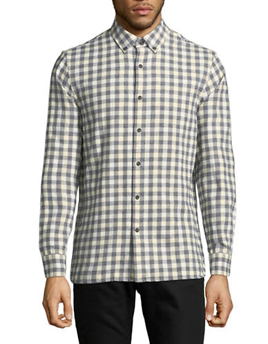 Black Brown 1826 Plaid Cotton Sportshirt-GREY-X-Large