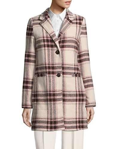 Manguun Wool-Blend Check Coat-WHITE-38