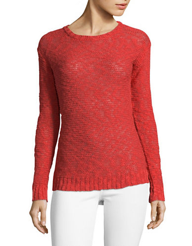 Manguun Long Sleeve Cotton Sweater-RED-X-Large