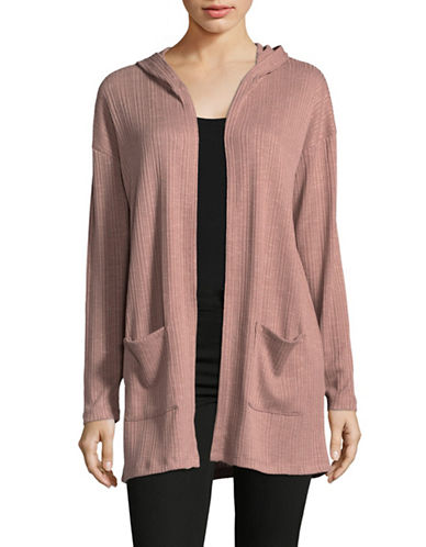 Manguun Hooded Ribbed Cardigan-PINK-Large