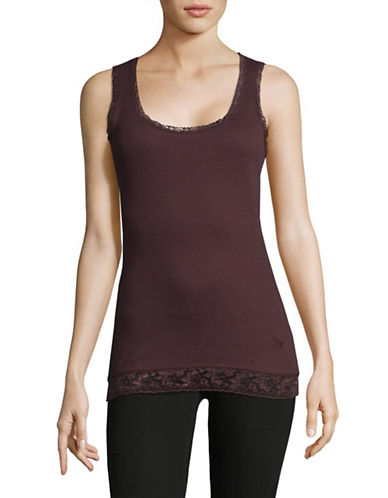 Manguun Lace Trim Tank-BROWN-X-Large