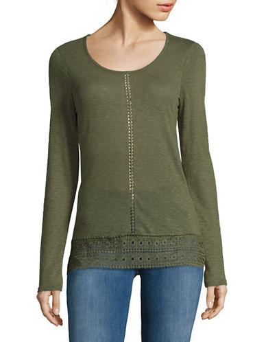 Manguun Long Sleeve Crochet Shirt-GREEN-X-Large