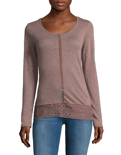 Manguun Long Sleeve Crochet Shirt-TWILGHT-Small