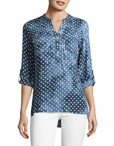Manguun Dot Print Henley Shirt-BLACK-38
