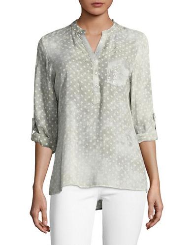Manguun Dot Print Henley Shirt-GREY-40