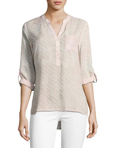 Manguun Dot Print Henley Shirt-PINK-40