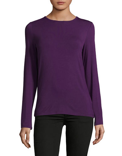 Lord & Taylor Basic Long Sleeve Shirt-IMPERIAL PURPLE-Small