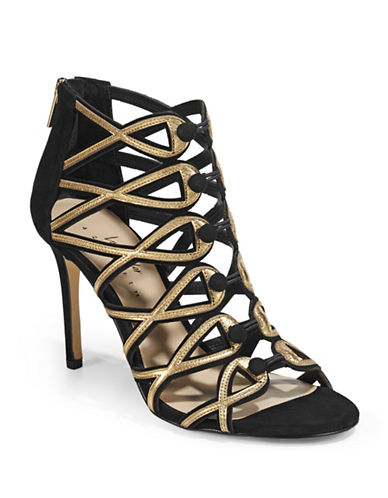 424 Fifth Gizelle Caged Sandals-BLACK GOLD-11