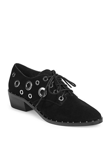 424 Fifth Grommet Suede Oxford Shoes-BLACK-5.5
