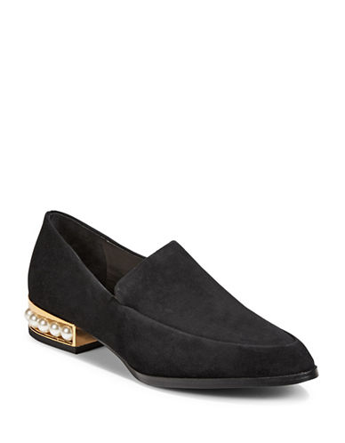 424 Fifth Valencia Beaded Leather Loafers-BLACK-9.5