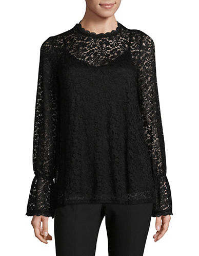 Lord & Taylor Bell Sleeve Lace Blouse-BLACK-Small