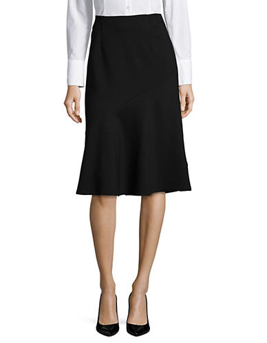 Lord & Taylor Plus Asymmetrical Flounce Skirt-BLACK-2X