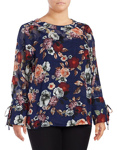Lord & Taylor Plus Bell Sleeve Floral Blouse-NAVY-0X