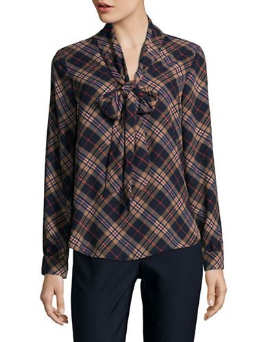 Lord & Taylor Layla Plaid Bow Blouse-NAVY NIGHT-Large
