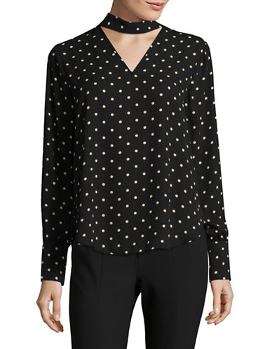 Lord & Taylor Polka Dot Choker Blouse-BLACK-X-Large