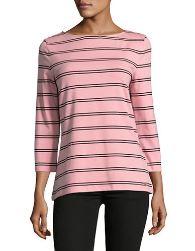 Imnyc Isaac Mizrahi Printed Three-Quarter Sleeve Boat Neck Top-MELON STRIPE-X-Small