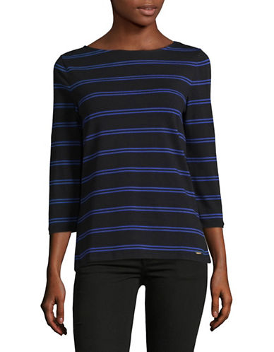 Imnyc Isaac Mizrahi Printed Three-Quarter Sleeve Boat Neck Top-COBALT-X-Large