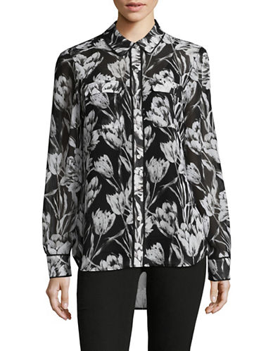 Imnyc Isaac Mizrahi Floral Hi-Lo Shirt with Piping-BLACK FLORAL-Large