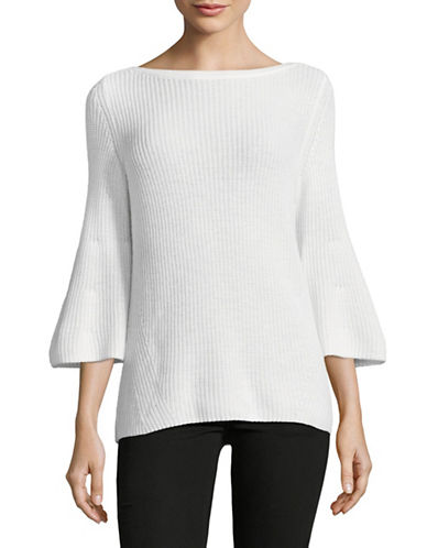 Lord & Taylor Ribbed Bell Sleeve Sweater-WHITE-Medium