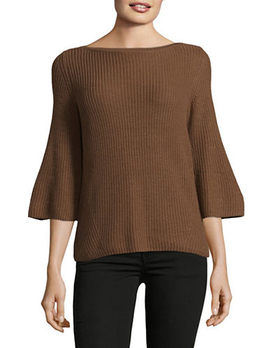 Lord & Taylor Ribbed Bell Sleeve Sweater-JAVA-Medium