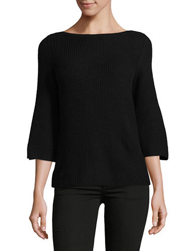 Lord & Taylor Petite Ribbed Bell Sleeve Sweater-BLACK-Petite X-Small