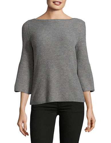 Lord & Taylor Petite Ribbed Bell Sleeve Sweater-PEWTER HEATHER-Petite Large