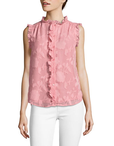 Imnyc Isaac Mizrahi Ruffled Trim Blouse-MELON-X-Large