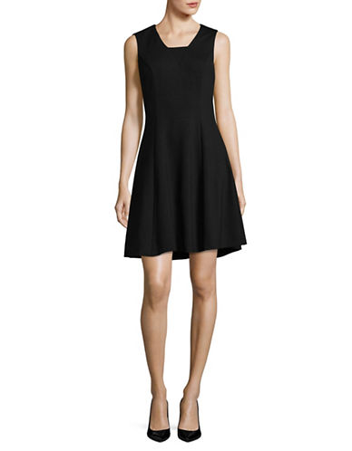 Imnyc Isaac Mizrahi Fitted A-Line Dress-BLACK-X-Large