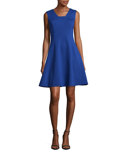 Imnyc Isaac Mizrahi Fitted A-Line Dress-COBALT-Large