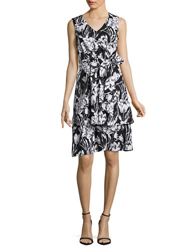 Imnyc Isaac Mizrahi Tiered Floral Fit-And-Flare-BLACK FLORAL-12