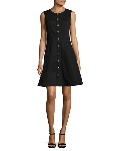 Imnyc Isaac Mizrahi Stretch Denim Shift Dress-BLACK-4