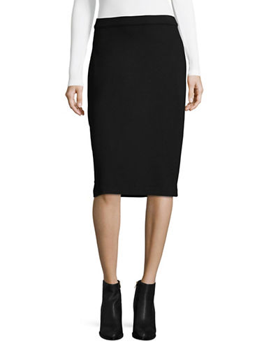 Imnyc Isaac Mizrahi Solid Pencil Skirt-BLACK-Large