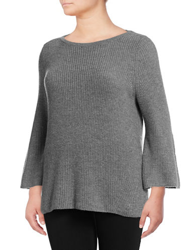 Lord & Taylor Plus Ribbed Bell Sleeve Sweater-PEWTER HEATHER-3X