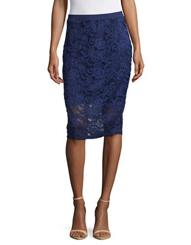Imnyc Isaac Mizrahi Lace Pencil Skirt-BLUE-X-Large