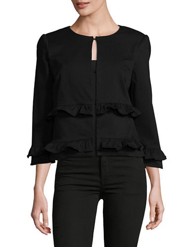 Imnyc Isaac Mizrahi Ruffled Cropped Jacket-BLACK-12