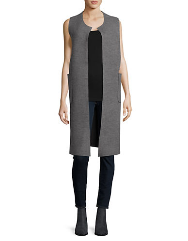 Lord & Taylor Reversible Duster Vest-PEWTER HEATHER-Small