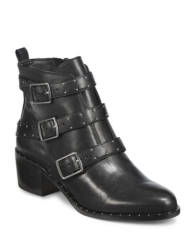 424 Fifth Finn Studded Leather Ankle Boots-GREY-6.5