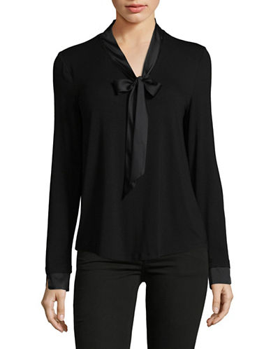 Lord & Taylor Petite Mix-Media Tie-Neck Blouse-BLACK-Petite Large
