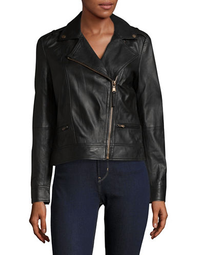 Lord & Taylor Notch Lapel Biker Jacket-BLACK-X-Small