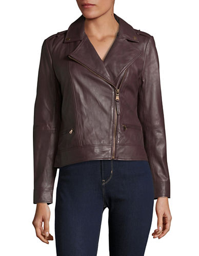 Lord & Taylor Notch Lapel Biker Jacket-DEEP WINE-Large