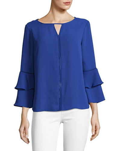 Imnyc Isaac Mizrahi Ladder-Stitch Keyhole Blouse with Tiered Sleeves-COBALT-Medium